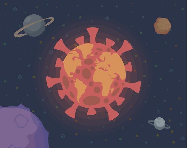 우주 그림에서 코로나 바이러스