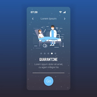 Coronavirus infect control diagnosis concept doctor in mask examining illness patient lying in bed epidemic mers-cov wuhan 2019-ncov quarantine concept mobile app copy space full length