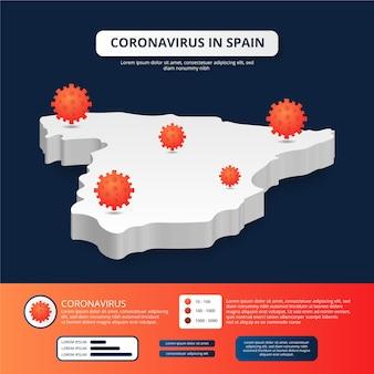 Mappa della spagna infettata da coronavirus