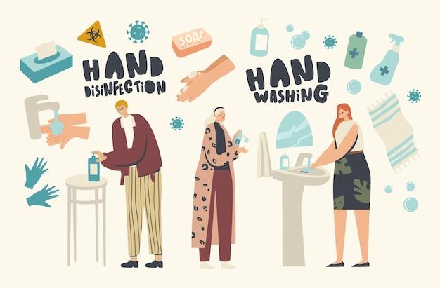 코로나바이러스 감염 예방, 소독 및 집에 머물기 개념. 남성과 여성 캐릭터는 소독제 젤, 살균제 또는 항균 비누로 손을 씻습니다. 선형 사람들 벡터 일러스트 레이 션