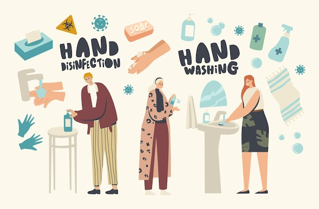 Coronavirus infection prevention, disinfection and stay home concept. male and female characters washing hands with disinfectant gel, sanitizer or antibacterial soap. linear people vector illustration