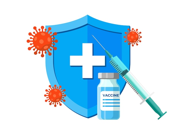青いヘルスケアシールドに注射器を備えたコロナウイルス感染ワクチンアンプル。 covid-19病気の予防接種ショット。医療2019-ncov保護薬。人間の免疫キャンペーンのベクトルアイコン
