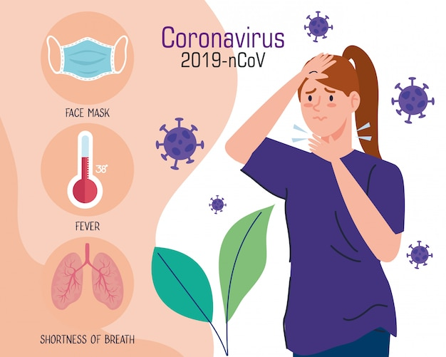 인후염이있는 코로나 바이러스 인포 그래픽 및 여성