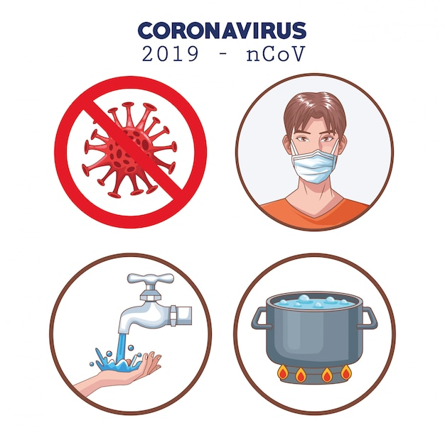 Coronavirus infographic with prevention set