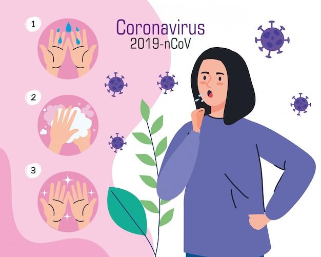 コロナウイルスインフォグラフィック女性の病気と手を洗う頻繁にキャンペーン