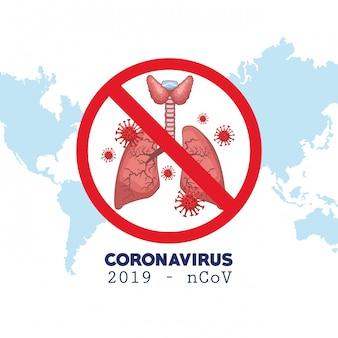 世界地図と肺のコロナウイルスインフォグラフィック