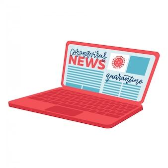 Coronavirusインゴコンセプト-ノートパソコンの画面上のテキストをレタリングします。バナー、ポスター医療ニュース。意識向上キャンペーン、健康、医療コンセプト。