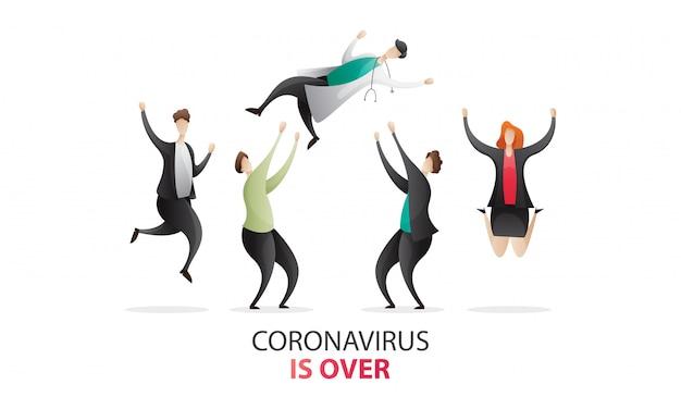 Коронавирус окончен концепция иллюстрации.