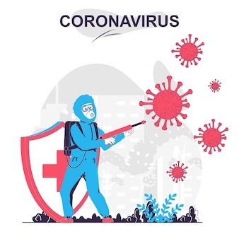 Coronavirus isolated cartoon concept medic disinfects and attacks virus fights disease