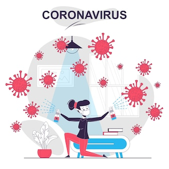 コロナウイルス分離漫画のコンセプト女性が自宅で消毒をスプレーし、ウイルスと戦う