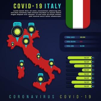 コロナウイルスイタリア地図インフォグラフィック
