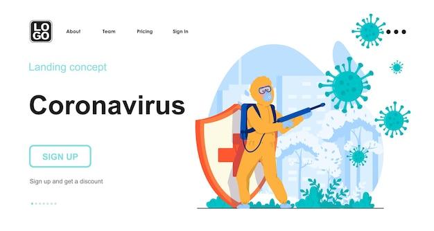 人のキャラクターとコロナウイルスのランディングページテンプレート
