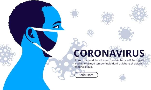 医療用マスクを着た男性がいるコロナウイルスのランディングページ