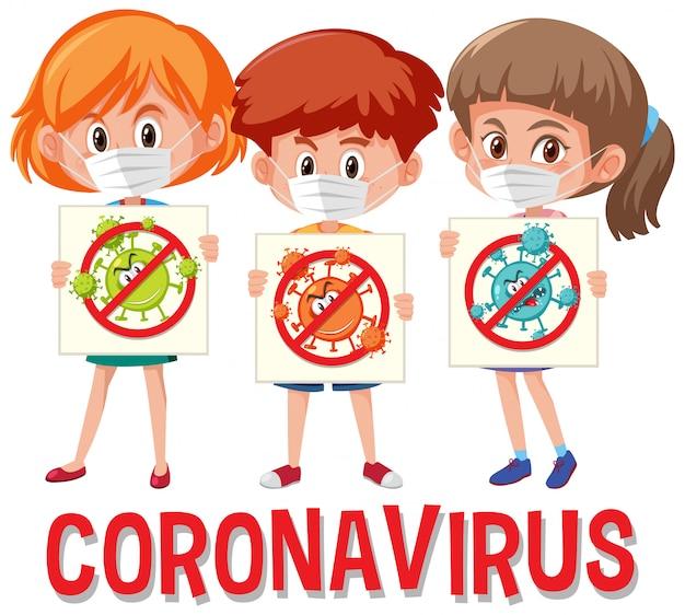 3つの10代の若者がストップコロナウイルスの標識を保持しているコロナウイルスのロゴ