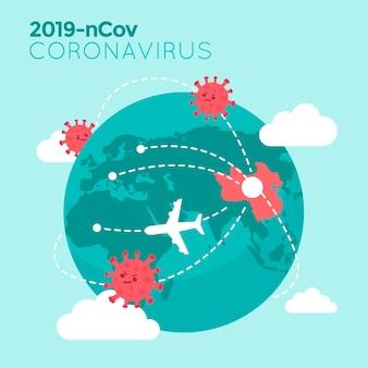 Coronavirus map illustration with planet