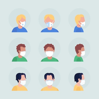 코로나바이러스는 세미 플랫 컬러 벡터 캐릭터 아바타 세트를 마스크합니다. 전면 및 측면 보기에서 인공 호흡기와 초상화입니다. 그래픽 디자인 및 애니메이션 팩을 위한 격리된 현대 만화 스타일 그림