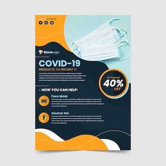 Coronavirus medical products flyer template with photo