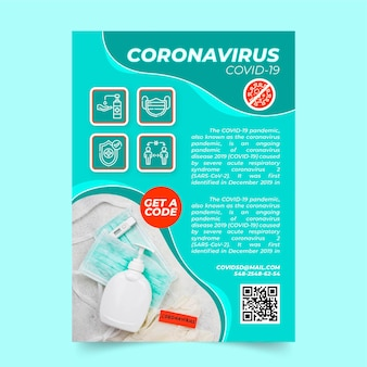 Coronavirus medical products flyer with photo