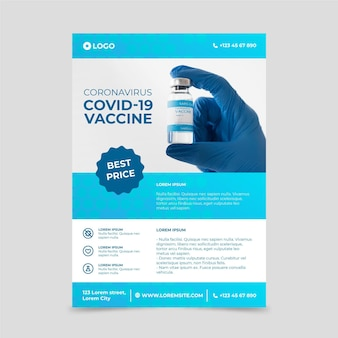 Coronavirus medical products poster with photo