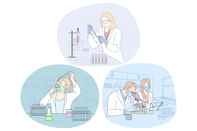 Coronavirus medical research and virus analysis in lab. people doctor scientists in protective