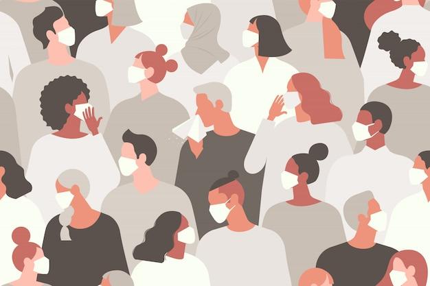 コロナウイルス新しいコロナウイルス2019 ncov、白い医療用フェイスマスクの人々。コロナウイルス検疫図の概念。シームレスなパターン。