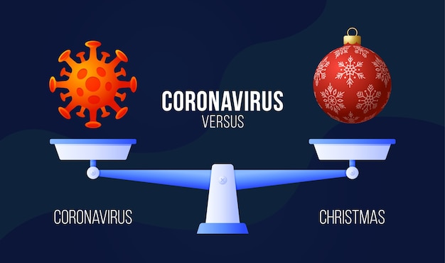 コロナウイルスまたはクリスマスのベクトル図。