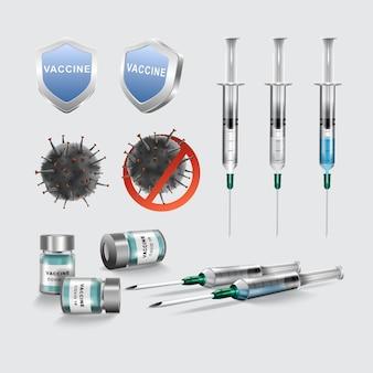 コロナウイルスまたはcovid-19ワクチンのボトルと注射器の注射。ヘルスケアと医学。ベクトルイラスト