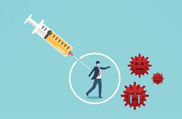 人々を救うためのコロナウイルスまたはcovid19ワクチン治療または薬の発見ベクトル図