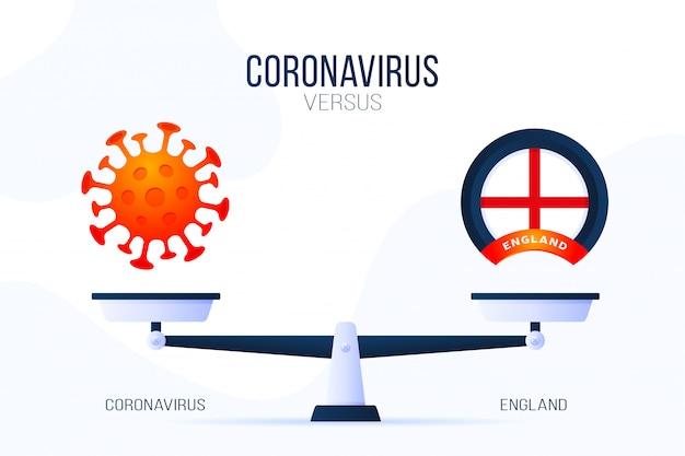 Коронавирус или англия иллюстрации. креативная концепция весов и против. на одной стороне весов лежит вирус covid-19, а на другой - значок флага великобритании. плоская иллюстрация.