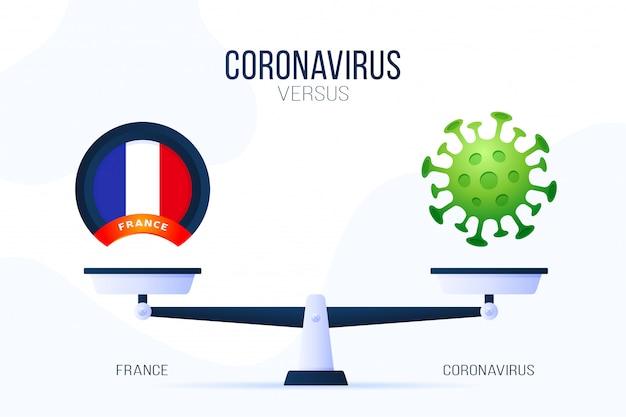 Коронавирус или франция иллюстрация. креативная концепция весов и против. на одной стороне весов лежит вирус covid-19, а на другой - значок флага франции. плоская иллюстрация.