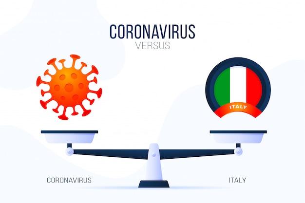 Коронавирус или италия иллюстрация. креативная концепция весов и против. на одной стороне весов лежит вирус covid-19, а на другой - значок флага италии. плоская иллюстрация.