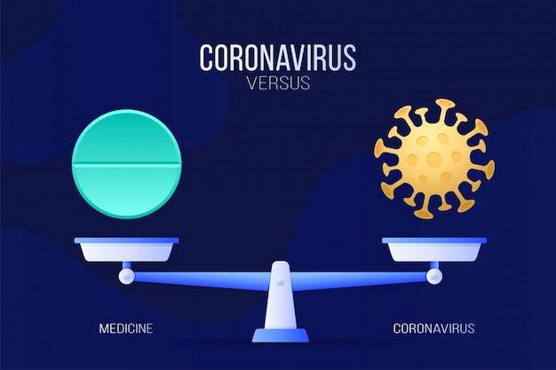 Коронавирус или медицинские таблетки иллюстрации. креативная концепция весов и против: на одной стороне весов лежит вирус covid-19, а на другой значок таблетки. плоская иллюстрация.