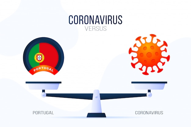 Коронавирус или португалия иллюстрации. креативная концепция весов и против: на одной стороне весов лежит вирус covid-19, а на другой - значок флага португалии. плоская иллюстрация.
