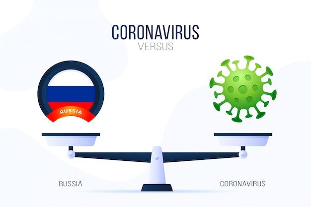 Коронавирус или россия иллюстрация. креативная концепция весов и против: на одной стороне весов лежит вирус covid-19, а на другой - значок флага россии. плоская иллюстрация.