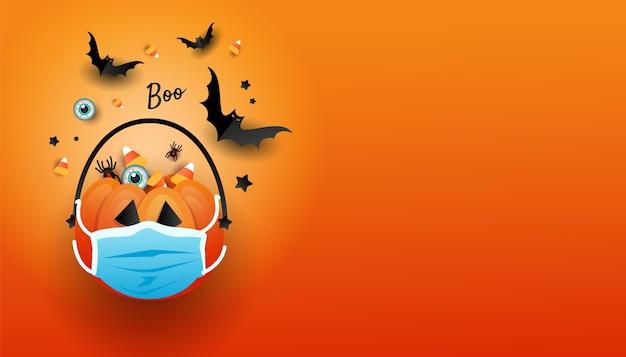 오렌지 배경에 줄무늬 과자와 박쥐가있는 의료 마스크의 코로나 바이러스 오렌지 srdf 가방