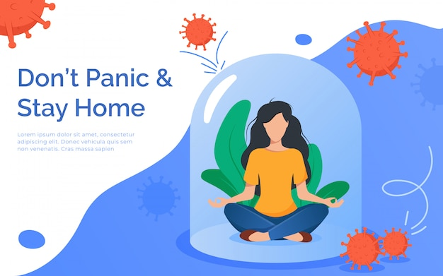 Coronavirus outbreak concept. a girl sits in a meditation pose under a glass cap. covid-19 virus in air. staying home with self quarantine. protect from viruses