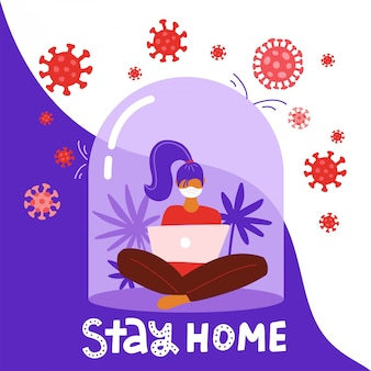 Coronavirus outbreak concept. a girl sits in a meditation pose with laptop under a glass cap. covid-19 virus in air. staying home with self quarantine. protect from viruses. flat illustration