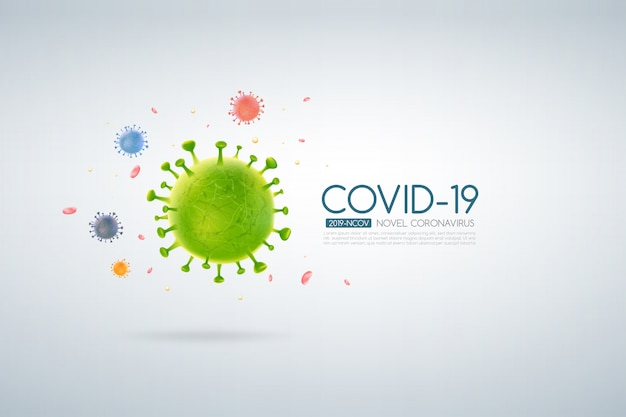 Coronavirus outbreak covid-19 design with falling virus cell on a light background