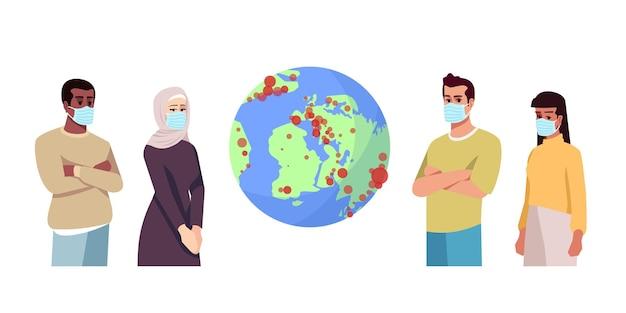 Вспышка коронавируса полу плоская цветная векторная иллюстрация rgb. люди в хирургических масках изолировали мультипликационный персонаж на белом фоне. covid19 распространился по всему миру, глобальная пандемия. мир на карантине