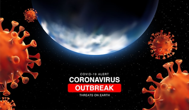 Coronavirus outbreak threats on earth with 3d illustartion of earth and coronavirus cell. china epidemic 2019-ncov in wuhan. virus covid 19-ncp. 3d landscape bacground
