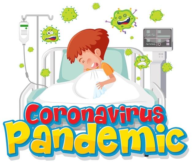 소년 환자 만화 캐릭터와 코로나 바이러스 전염병 배너