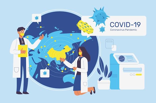 コロナウイルスのパンデミックのコンセプト