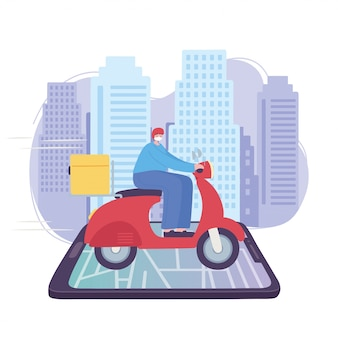 Coronavirus pandemic, delivery service, delivery man riding scooter on mobile map, wear protective medical mask