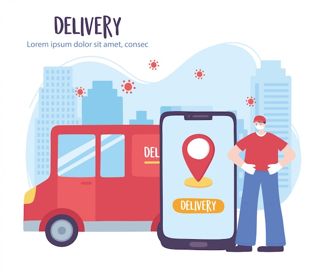 Coronavirus pandemic, delivery service, delivery man truck and smartphone, wear protective medical mask