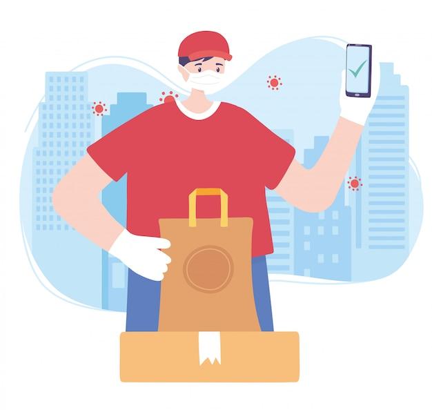 Пандемия коронавируса, служба доставки, доставщик использует смартфон с пакетами, надевает защитную медицинскую маску