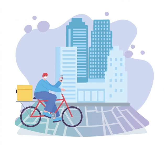 Coronavirus pandemic, delivery service, delivery man with mobile riding bike on tracking map, wear protective medical mask