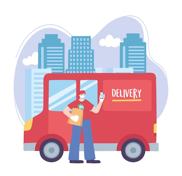 Coronavirus pandemic, delivery service, delivery man with mobile and truck in city, wear protective medical mask