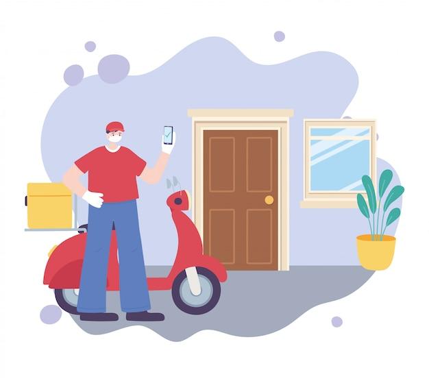 Пандемия коронавируса, служба доставки, доставщик со смартфоном и мотоциклом, надеть защитную медицинскую маску