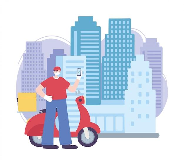Пандемия коронавируса, служба доставки, доставщик со смартфоном и скутером, надеть защитную медицинскую маску