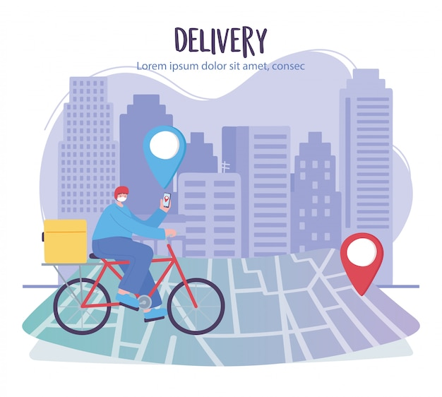 Coronavirus pandemic, delivery service, delivery man with smartphone in bike on navigation map, wear protective medical mask